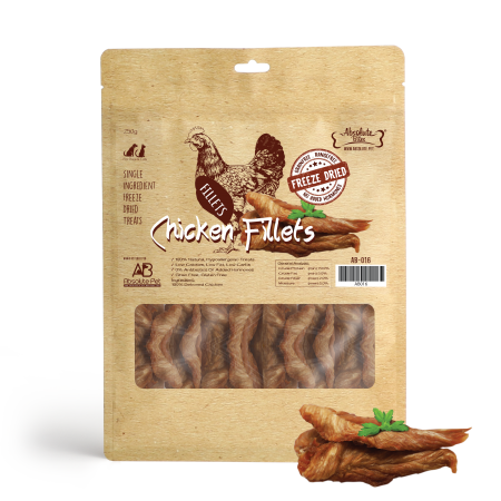 Absolute Bites Freeze Dried Chicken Fillets Dog Treat 200g