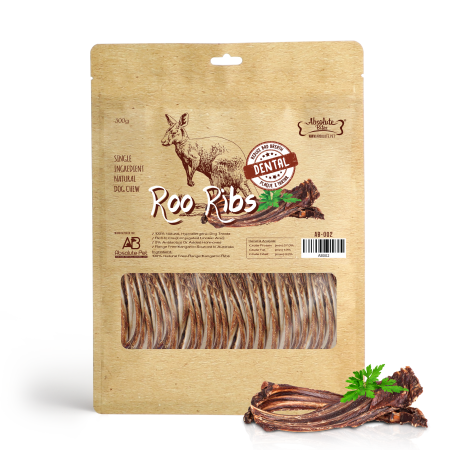Absolute Bites Air Dried Kangaroo Ribs Dog Treat 300g