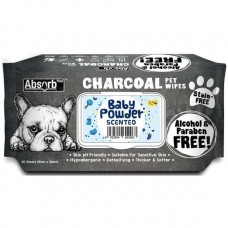 Absorb Plus Pet Wipes Charcoal 80's Baby Powder (2 Packs)