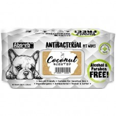 Absorb Plus Pet Wipes Antibacterial 80's Coconut