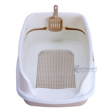 Cat Litter Box Half Cover With Net Brown