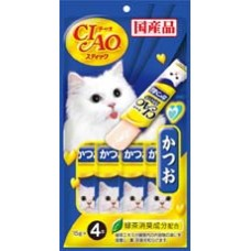 Ciao Stick Tuna Katsuo in Jelly with Added Vitamin and Green Tea Extract 14g x 4pcs