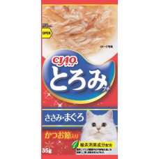 Ciao Chu ru Toromi Line Pouch Chicken Fillet, Tuna & Bonito 35g x 4pcs (3 Packs)