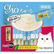 Ciao Chu ru Chicken Fillet and Sliced Bonito with Added Vitamin and Green Tea Extract 14g x 20pcs