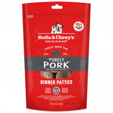 Stella & Chewy's Grain Free Purely Pork Dinner Patties Freeze-Dried Dog Food 14oz (3 Packs)