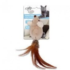 AFP Classic Comfort Feather Tailed Mouse Cat Toy Brown