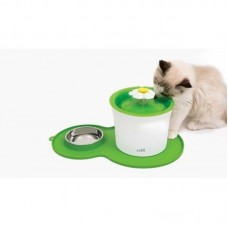 Catit Flower Fountain Combo and Placemat with Stainless Steel Dish For Dogs & Cats 3L