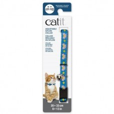 Catit Adjustable Nylon Collar with Rivets Blue with Pink Bows For Cats