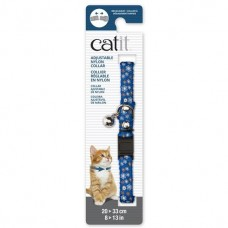 Catit Adjustable Nylon Collar with Rivets Blue with Flowers For Cats