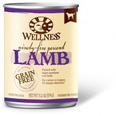 Wellness 95% Grain Free Lamb Pate Dog Canned Food 374g Carton (6 Cans)