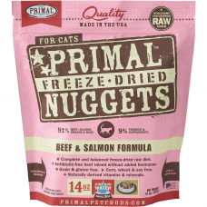 Primal Beef & Salmon Nuggets Freeze Dried Cat Food 397g (2 Packs)