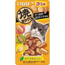 Ciao Soft Bits Tuna & Chicken Fillet Dried Bonito Scallop & Squid Flavor 25g (3 Packs)