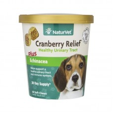 NaturVet Cranberry Relief Healthy Urinary Tract Plus Echinacea for Dogs - 60 Soft Chews