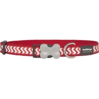 Red Dingo Bucklebone Collar Reflective (L) Ziggy Red
