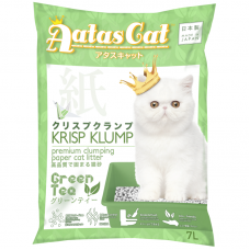 Aatas Cat Krisp Klump Premium Clumping Paper Cat Litter Green Tea 7L (4 Packs)