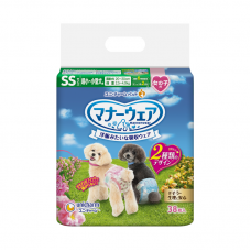 Unicharm Absorbent Pet Diaper Female Extra Small (38pcs) 20cm-30cm Waist For Dogs