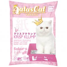 Aatas Cat Krisp Klump Premium Clumping Paper Cat Litter Sakura 7L (4 Packs)