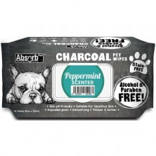 Absorb Plus Pet Wipes Charcoal 80's Peppermint For Dogs & Cats (2 Packs)