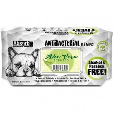 Absorb Plus Pet Wipes Antibacterial 80's Aloe Vera For Dogs & Cats (2 Packs)