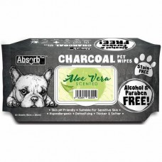 Absorb Plus Pet Wipes Charcoal 80's Aloe Vera For Dogs & Cats