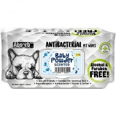Absorb Plus Pet Wipes Antibacterial 80's Baby Powder For Dogs & Cats