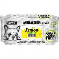 Absorb Plus Pet Wipes Antibacterial 80's Lemon For Dogs & Cats (2 Packs)