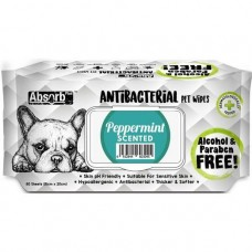 Absorb Plus Pet Wipes Antibacterial 80's Peppermint For Dogs & Cats (2 Packs)
