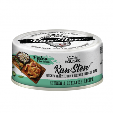 Absolute Holistic Raw Stew with Chicken Organs Deboned Chicken & ShellFish Recipe Canned Food 80g