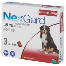 Nexgard Afoxolaner Chewable Tablets for Extra Large Dogs 25kg - 50kg 3 tablets