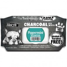 Absorb Plus Pet Wipes Charcoal 80's Peppermint (2 Packs)