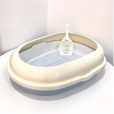 Cat Litter Pan Oval With Gridding Blue & White