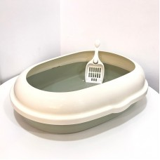 Cat Litter Pan Oval Sage Green & White