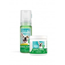 Bundle Deal For TropiClean Fresh Breath Mint Foam + Fresh Breath Dental Wipes