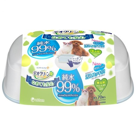 Unicharm Deo-Clean Pure Water Pet Wipes 70pcs (3 Packs)